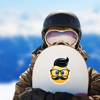 Cute Hipster with Black Hair Emoji Sticker on a Snowboard example