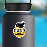 Cute Hipster with Black Hair Emoji Sticker on a Water Bottle example