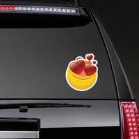 Cute In Love Emoji Sticker on a Rear Car Window example