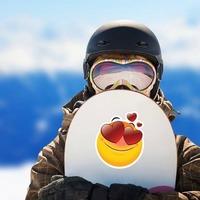 Cute In Love Emoji Sticker on a Snowboard example