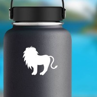 Cute Lion Silhouette Sticker on a Water Bottle example