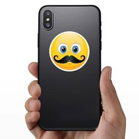 Cute Mustache Emoji Sticker on a Phone example