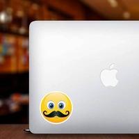 Cute Mustache Emoji Sticker on a Laptop example