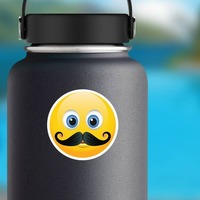 Cute Mustache Emoji Sticker on a Water Bottle example