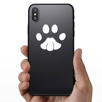 Cute Paw Print Sticker on a Phone example
