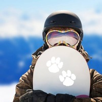 Cute Paw Prints Sticker on a Snowboard example
