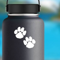 Cute Paw Prints Sticker on a Water Bottle example