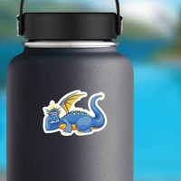 Cute Relaxing Blue Dragon on a Water Bottle example