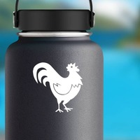 Cute Rooster Sticker on a Water Bottle example