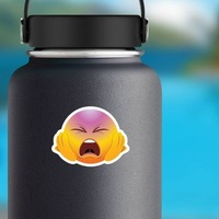 Cute Screaming Hands on Face Emoji Sticker on a Water Bottle example