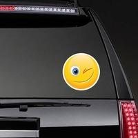 Cute Wink Emoji Sticker on a Rear Car Window example