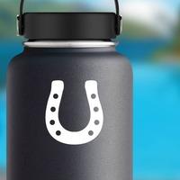 Dapper Horseshoe Sticker on a Water Bottle example