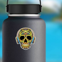 Decorative Skull with Headphones On Sticker on a Water Bottle example