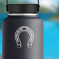 Delicate Horseshoe Sticker on a Water Bottle example