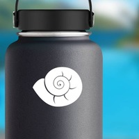 Delicate Seashell Sticker on a Water Bottle example