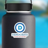 Democratic Party Logo With Slogan Tall Printed Color Magnet on a Water Bottle example