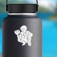 Detailed Baseball Softball Catcher Sticker on a Water Bottle example