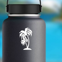 Detailed Palm Trees Sticker on a Water Bottle example
