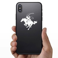 Detailed Rodeo Cowboy With Lasso Sticker on a Phone example