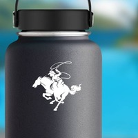 Detailed Rodeo Cowboy With Lasso Sticker on a Water Bottle example