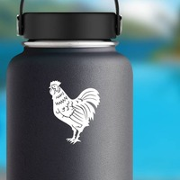 Detailed Rooster Sticker on a Water Bottle example
