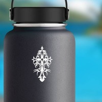 Detailed Tribal Cross Sticker on a Water Bottle example