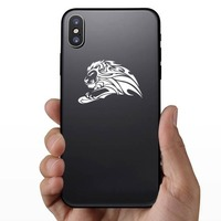 Determined Tribal Lion Sticker on a Phone example