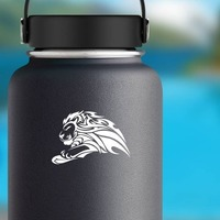 Determined Tribal Lion Sticker on a Water Bottle example