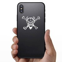 Devil Skull And Crossbones Sticker on a Phone example