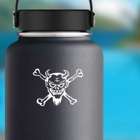 Devil Skull And Crossbones Sticker on a Water Bottle example
