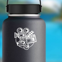 Director Movie Film Camera Sticker on a Water Bottle example
