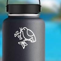 Dove And Heart Branch Sticker on a Water Bottle example