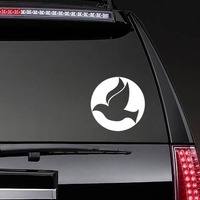 Dove Bird Flying In A Circle Sticker on a Rear Car Window example