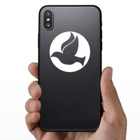 Dove Bird Flying In A Circle Sticker on a Phone example