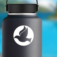Dove Bird Flying In A Circle Sticker on a Water Bottle example