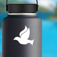 Dove Bird Flying Sticker on a Water Bottle example