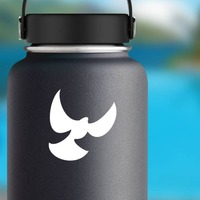 Dove Bird With Wings Spread Sticker on a Water Bottle example