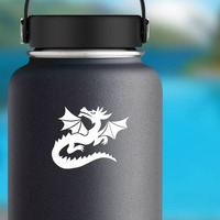 Dragon Looking Up Sticker on a Water Bottle example