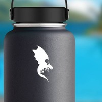 Dragon Silhouette Sticker on a Water Bottle example