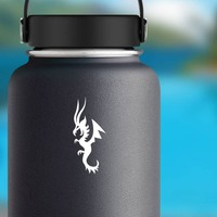 Dragon With Long Horns Sticker on a Water Bottle example