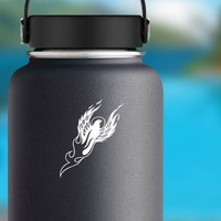 Eagle Bird With Flames Flying Past The Sun Sticker on a Water Bottle example