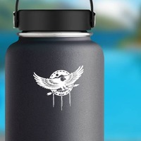 Eagle Flying With Arrow Sticker on a Water Bottle example