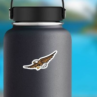 Eagle Mascot Sticker on a Water Bottle example