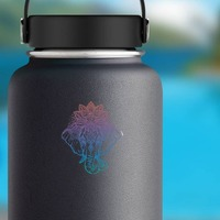 Elephant with Lotus Flower Boho Sticker on a Water Bottle example