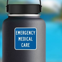 Emergency Medical Care Sticker on a Water Bottle example