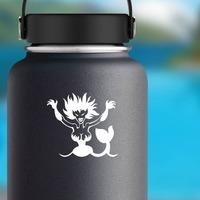 Evil Mermaid Sticker on a Water Bottle example