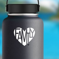Family Lover's Heart® One-Color Sticker on a Water Bottle example
