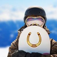 Fancy Horseshoe Cowboy Sticker on a Snowboard example