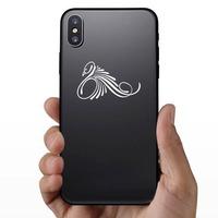 Fancy Swirly Swan Sticker on a Phone example
