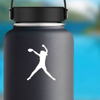 Fast Pitch Girl Softball Player Sticker on a Water Bottle example
